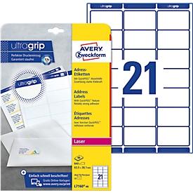 Avery Zweckform L7160-40 Adress-Etiketten, ultragrip, 63,5 x 38 mm