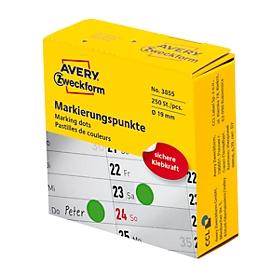 Avery Zweckform markeringspunten dispenserbox, permanent hechtend, diameter 19 mm, groen