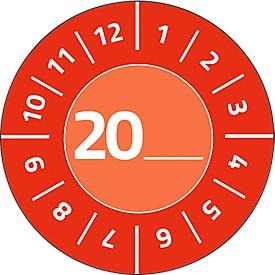 Avery Zweckform testbadges met jaartal 20xx, Ø 30 mm, PVC-folie op papier, rood