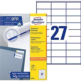 AVERY Zweckform Universal-Etiketten 3479, ultragrip, 70 x 32 mm, 2700 Stück