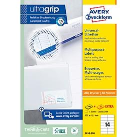 AVERY Zweckform Universele etiketten, 105 x 74 mm, nr. 3427-200, 14 per blad, doos van 200 blad, 1600 etiketten