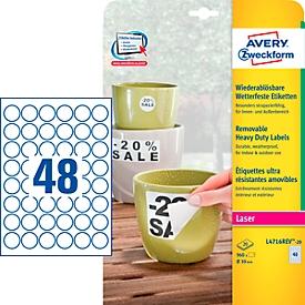 Avery Zweckform weerbestendige folie-etiketten L4716REV-20, ø 30 mm, verwijderbaar, wit