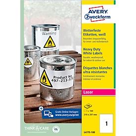 AVERY® Zweckform weerbestendige folie-etiketten L4775-100, 210 x 297 mm, permanent, wit