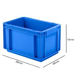 Bak in euro-maat EF 3170, van PP, inhoud 6,5 l, gesloten wanden, gesloten handgreep, blauw