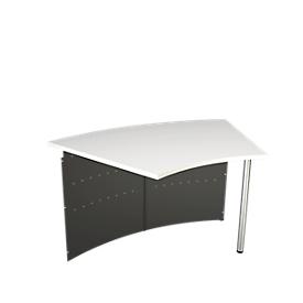 Balie Milano, aanbouwtafel 45°, antraciet/aluminium zilver