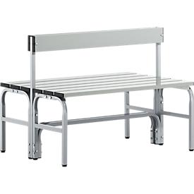 Banco cambiador, tubo de acero inoxidable/aluminio, doble con respaldo, 1015 mm de ancho, aluminio blanco