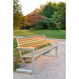 Banco Cochem, 4 plazas, de acero inoxidable brillante y madera de acacia
