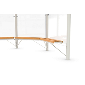 Banco de diseño WSM p. pabellón octogonal Paris, L 1000mm, madera de pino, acero rev. de polvo, blanco grisáceo
