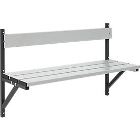 Banco de pared, aluminio, 1015 mm de ancho, antracita (RAL 7016)