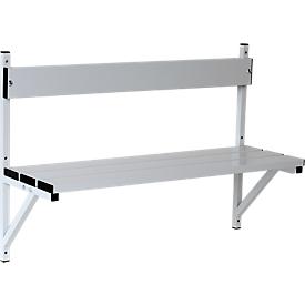 Banco de pared, aluminio/acero inoxidable, 1015 mm de ancho