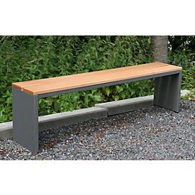 Banco de parque, acero inoxidable/madera de garapa, resistente a la intemperie, An 1500 x P 300 x Al 400mm, gris moonstone