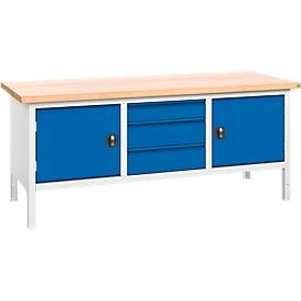Banco de trabajo con mueble Verso, 3 cajones, 2 puertas, sin cerradura