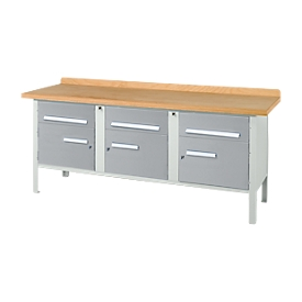 Banco de trabajo Schäfer Shop Select PW 200-5, aluminio blanco