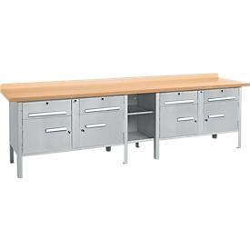 Banco de trabajo Schäfer Shop Select PW 300-0, aluminio blanco