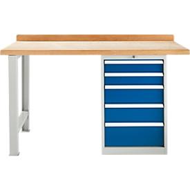 Banco de trabajo TOP, mueble para banco de trabajo, 5 cajones, unidad base, anchura 1500mm
