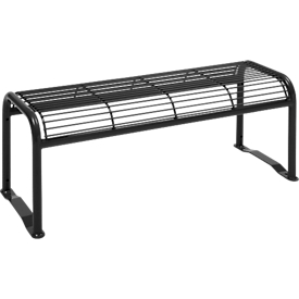 banco sin respaldo, 2 plazas, con rejilla, para exterior, negro intenso (RAL 9005)