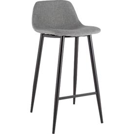 Barhocker, 2er-Set, B 500 x T 450 x H 950 mm, Fußstütze, gepolstert, schwarz, Stoffbezug grau
