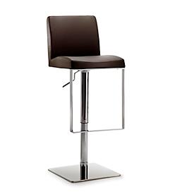 Barhocker Mayer Mybreak, gepolst. PU-Sitz mit Rücken, höhenverstellbar, 360° drehbar, H 560-810 mm, schokobraun