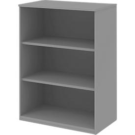 BARI boekenkast, 3 OH, 2 legborden, spaanplaat, B 819 x D 430 x H 1117 mm, middengrijs