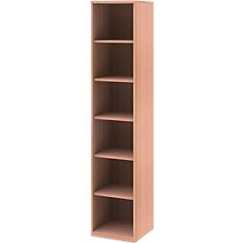 BARI boekenkast, 6 OH, 5 legborden, spaanplaat, B 427 x D 430 x H 2174 mm, beukendecor