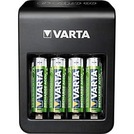 Batterijlader Varta LCD Plug Charger, voor 4 x Mignon AA/Micro AAA/9 V NiMH-batterijen & 1 x USB, LCD-display, incl. 4 batterijen