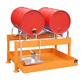 BAUER FAS-2 vatenvulstation, opvangbak van 220 l, voor 2 x 200 l vaten, B 1300 x D 1550 x H 735 mm, geel-oranje RAL 2000