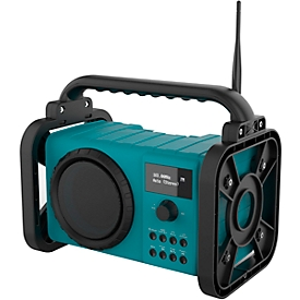 Baustellenradio Soundmaster® DAB80, DAB+/UKW, Bluetooth, 5 W, bis zu 8 h Spielzeit, IP44, Handyfach & Leuchte