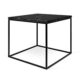 Beistelltisch GLEAM, Quadrat, Würfelgestell, B 500 x T 500 x H 450 mm, Marmorplatte schwarz, Gestell schwarz
