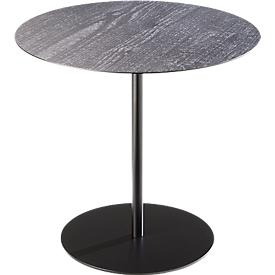 Beistelltisch STANLY, Stahlgestell schwarz, Ø 450 x H 420 mm, Carbonized Wood