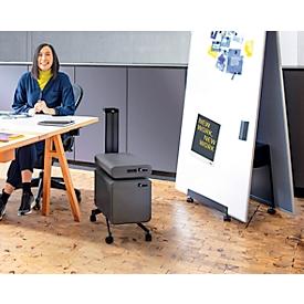 Beistellwagen Office Caddy Meeting Serie Sigel Move It, 2-seitig Halterungen für Office Box S/L, Handgriff, B 324 x T x 817 x H 1078 mm, Metall, grau