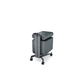 Beistellwagen Office Caddy Workplace Serie Sigel Move It, 1-seitig Halterungen f. Office Box S/L, Handgriff, B 324 x T 489 x H 650-1001 mm, mit Zubehör