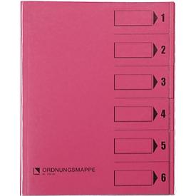 bene Ordnungsmappe m. Schutzumschlag, Pendarec-Karton, recycling, rosa, 6-tlg.