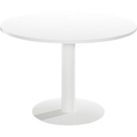 Besprechungstisch Paperflow, bis 4 Personen, Kreis, Tellerfuß, B null x T null x H 750 mm, weiß/weiß