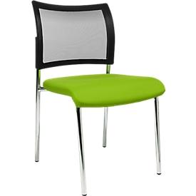 Bezoekersstoel, 4-poot, gaas, zonder armleuningen, set van 2, groen