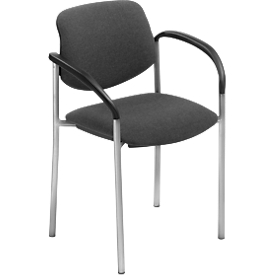Bezoekersstoel Styl, antraciet, aluminium zilver