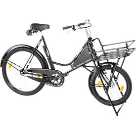 Bicicleta de carga, cuadro de acero, con portacargas sobre la rueda delantera, soporte de la rueda delantera, negro