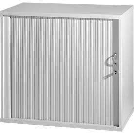 Bijzetkast, dwarse roldeuren, rechts openend, blank aluminium