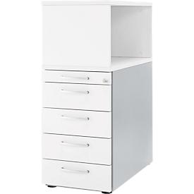Bijzetladeblok met open opzetkast, afsluitbaar, Handgreep 2, wit