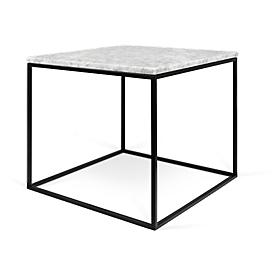 Bijzettafel GLEAM, vierkant, kubusvormig onderstel, B 500 x D 500 x H 450 mm, marmer blad wit, onderstel zwart