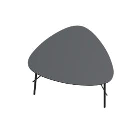 Bijzettafel LAZY Paperflow, trapeziumvormig, MDF-fineer, stalen frame, B 605 x D 500 x H 450 mm, zwart/zwart