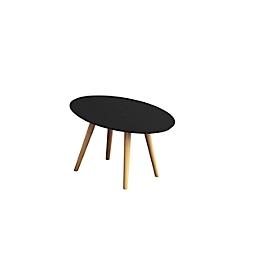 Bijzettafel SCANDI, ovaal, 4-poots massief houten frame, B 650 x D 400 x H 350 mm, zwart/beuken