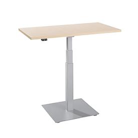 Bijzettafel Start-Up, elektrisch in hoogte verstelbaar, rechthoekig, kolompoot, B 1000 x D 600 x H 635-1285 mm, ahorn/wit aluminium