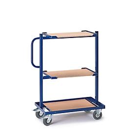 Bijzetwagen, met houten legborden, vast