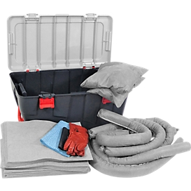 Bindmiddel-noodset, universeel inzetbaar, 75 l, in verrijdbare kunststof koffer met deksel en handvat, grijs, , 369 stuks