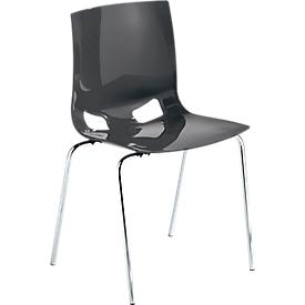 Bistrostoel FONDO, kunststof stoel met 4 poten, onderstel verchroomd, stapelbaar tot 6 stoelen, antraciet