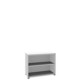 Boekenkast, 2 OH, fijne spaanplaat, B 1000 x D 450 x H 820 mm, wit