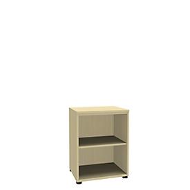 Boekenkast, 2 OH, fijne spaanplaat, B 600 x D 450 x H 820 mm, ahorndecor