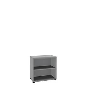 Boekenkast, 2 OH, fijne spaanplaat, B 800 x D 450 x H 820 mm, zilver