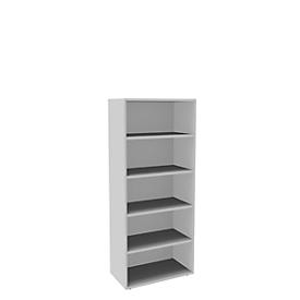 Boekenkast, 5 OH, fijne spaanplaat, B 800 x D 450 x H 1930 mm, wit