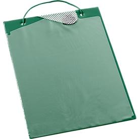 Bolsas para pedidos, con cierre de gancho y compartimento de almacenamiento, DIN A4, verde
